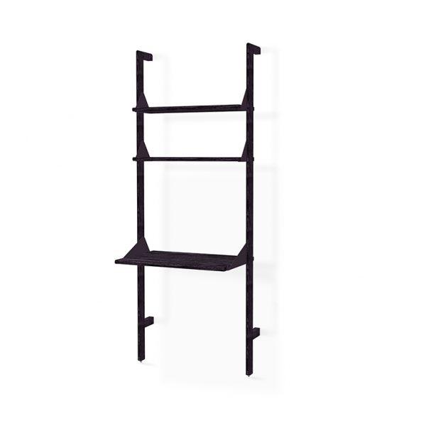 Black uprights, black brackets, black shelves