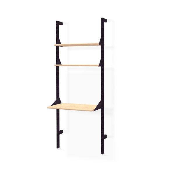Black uprights, black brackets, blonde ash shelves