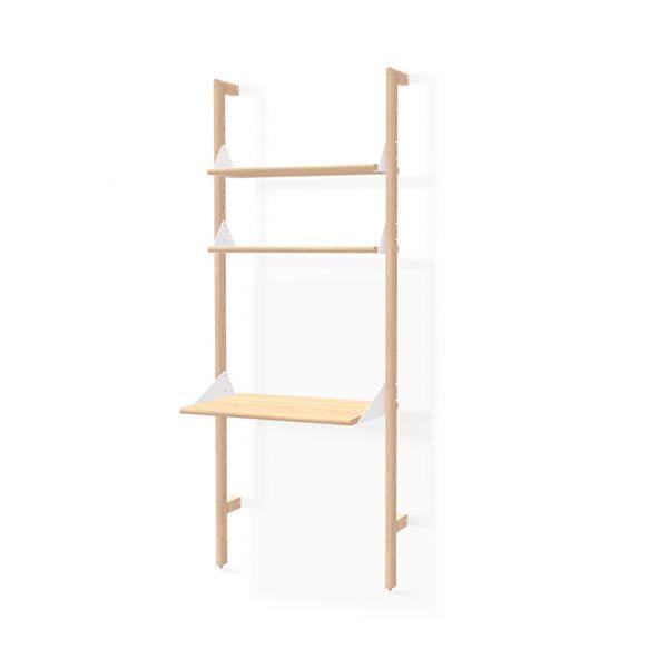 Blonde Ash uprights, white brackets, blonde ash shelves